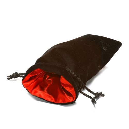 "5""X8"" Black Velvet Dice Bag with Red Satin Lining"