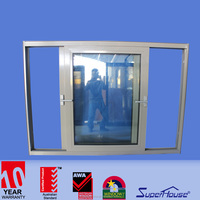 Australia standard as2047 bulletproof glass aluminium frame interior sliding glass window