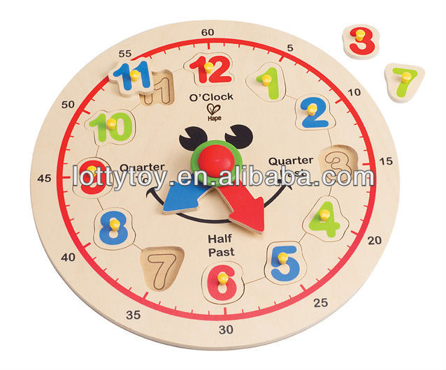 Wooden clock alphabet puzzle for kids