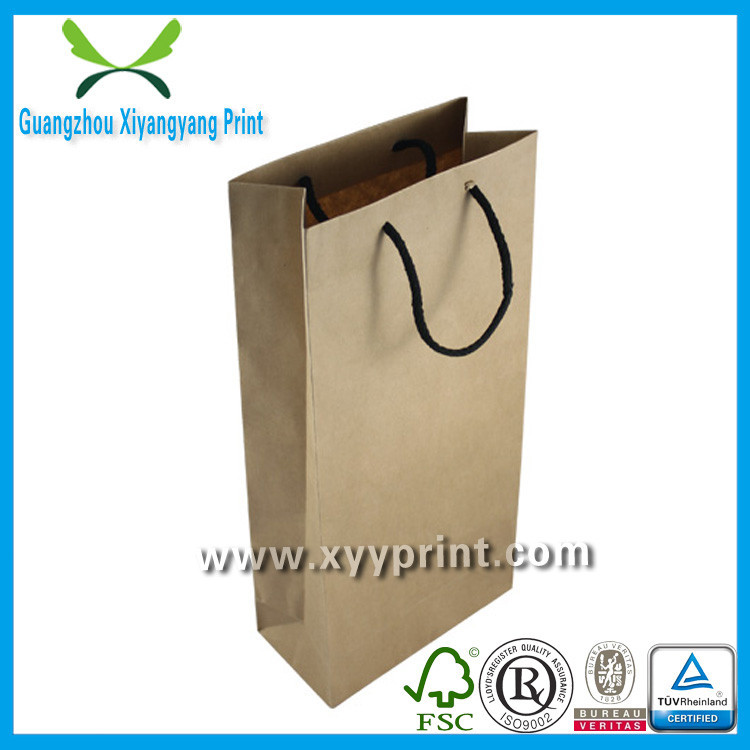 Eco Friendly Custom Printed Wine Paper Bag With Handles