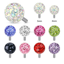 Clear Epoxy Covered Ferido Ball 316L Surgical Steel Dermal Anchor Tops Body Jewelry
