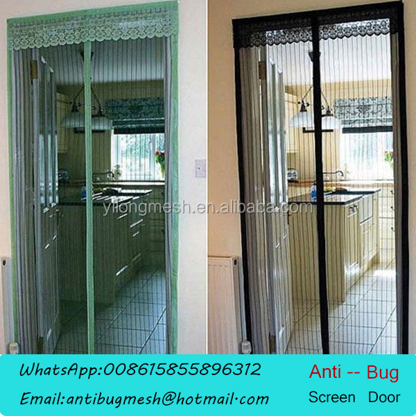 Magnetic frameless mesh door curtain buy magnetic door for Magnetic mesh screen for french doors