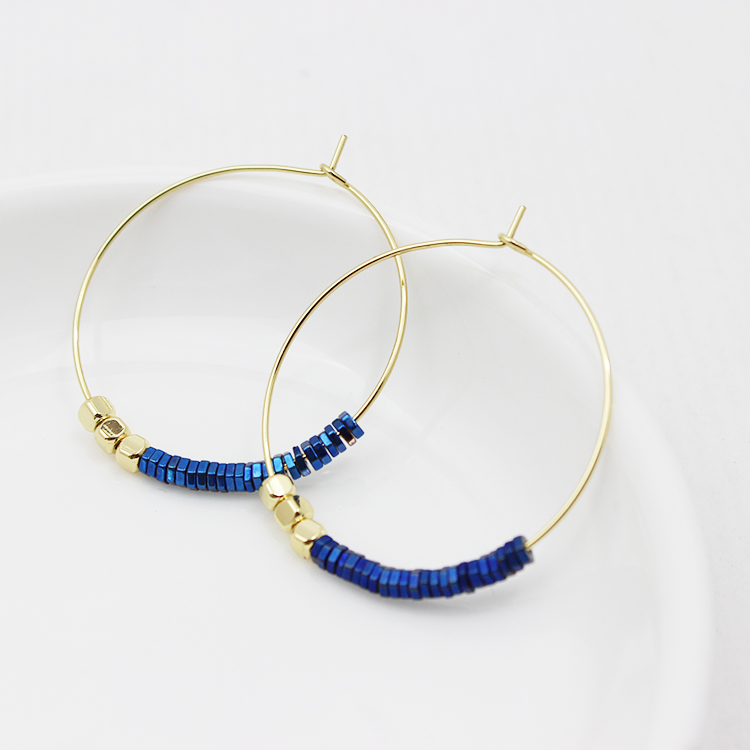 new designs gold filled hoop jewelry gold earring with hematite beads earring hoop designs for women
