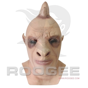 Halloween Creepy & Soft Head Mask Monster With Horns Halloween Latex Mask