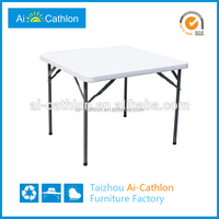 Outdoor & Indoor HDPE Top+Powder Coated Tube Square Plastic Folding Table