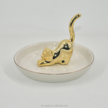 Gold Long Tail Cat Ceramic Jewelry Trays Rings Bracelets Earrings Necklace Holder Organizer