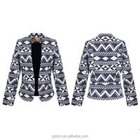 New design long sleeve warm thick woven winter jacket casual women ladies blazer
