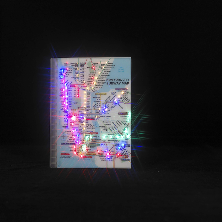 Personalized Led Light Flashing Diary Journal Notebook with New York City Subway Map