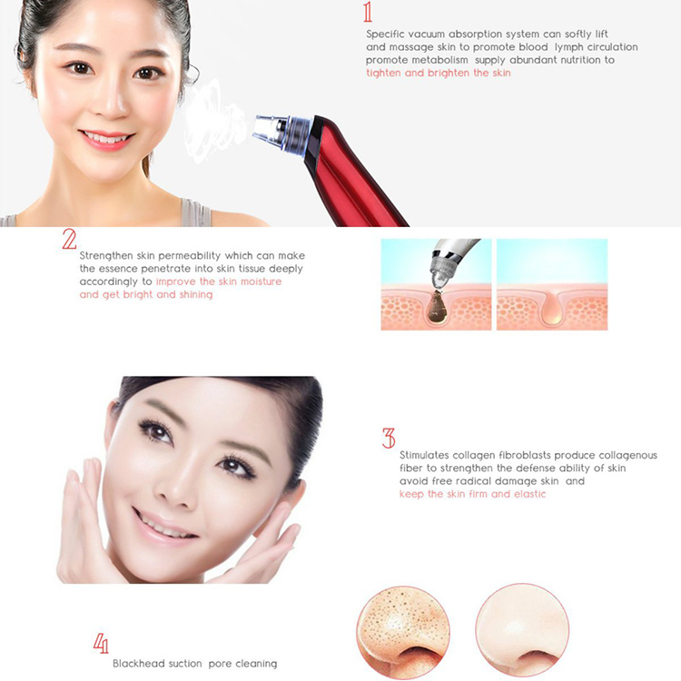 2018 Hot Beauty Device Facial Vacuum Blackhead Remover Suction Portable Home Use Personal Machine