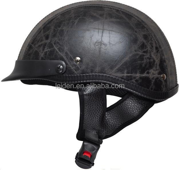 black green leather material motorcycle helmet half face scooter helmet TN8689 C
