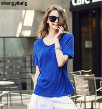 Hot sale Women Cotton and linen loose white t-shirt high quality fashion t-shirt in guangzhou