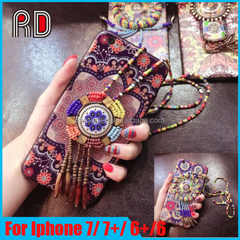 Colorful Retro Flower Case for iphone 6s China Style Totem Gem Jewel Phone Case For iPhone 6 Plus