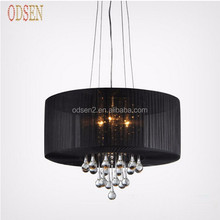 European black pendant chandelier round crystal chandelier lighting with black shades