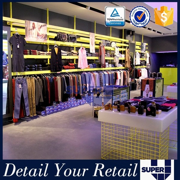 Clothing shop interior design for outlet store, showroom shelves for outlet store