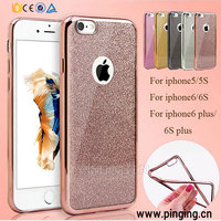 Bling Glitter Powder ShockProof Silicone TPU Plating Bumper Case Cover For iPhone 6s / Plus 6