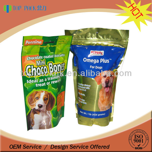 250g 500g zip top foil stand up pet food bags pouch