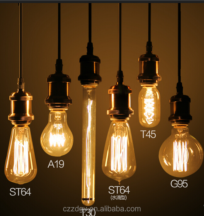 Antique vintage edison bulb carbon decorative filament light bulb 25w 40w 60w ST64 A60 A19 T45 T30 G80 G95 G125 C35 etc