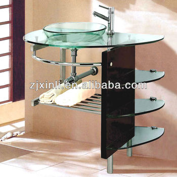 High Quality Tempered Glass Bathroom Countertop Sink Clean Color Glass With Plywood Holder Buy