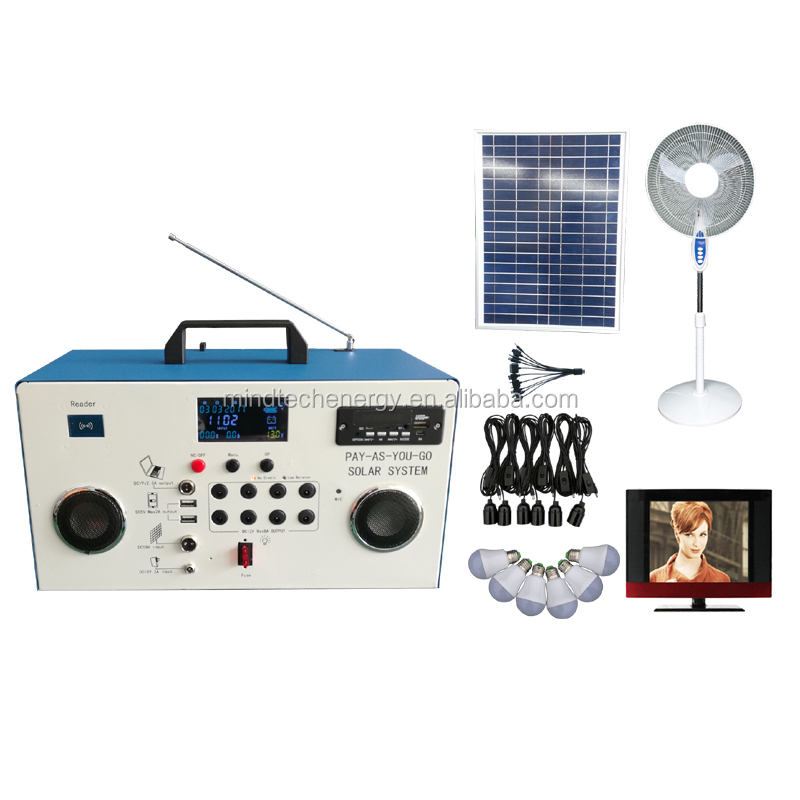 60w DC pay as you go solar home lighting system