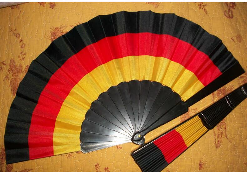 promotional hand fan with fabric printed solid color fabric fans