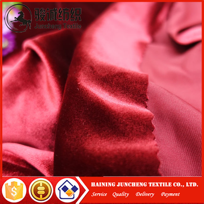 New year red Chinese red shiny fabric high quality silk dress velvet fabric curtain fabric