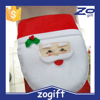 ZOGIFT 2015 Christmas gifts best quality bathroom Santa toilet seat cover and rug for christmas decoration