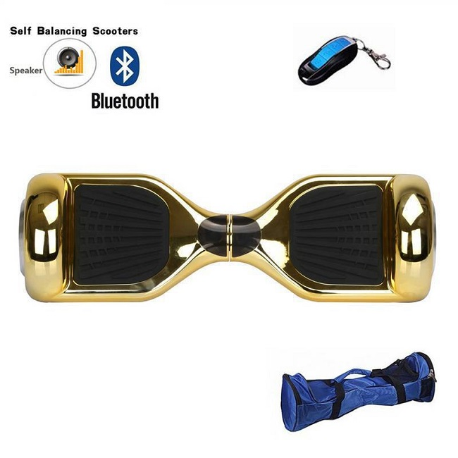6.5/8/10inch Wholesale 2 wheel self balancing scooter golden electric hover board with LED light and bluetooth and free hand bag