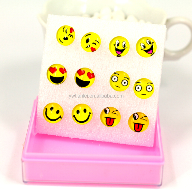 Free Shipping Small Lot Wholesale 6pairs Packing 12mm Glass Gemstone Yellow Smile Face Plastic Earrings