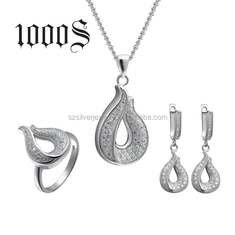 Silver Jewelry Set 925 Micro-Pave Setting Cubic Zirconia Wedding New Designs