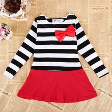 Fashion Baby Girl Long Sleeve Stripe Bowknot Evening Dresses SV016137