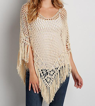 Hot Selling Fat Women Wear Clothing Big Size Open Weave Crochet Top