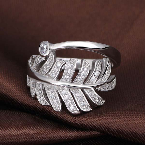 CZ pave feather brass fashion ring finger rings photos