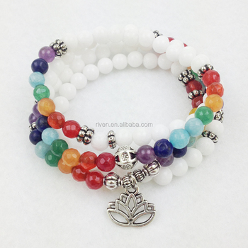 SN0104 White Stone Chakra 108 Mala wrap bracelet or necklace 7 Chakra Lotus bracelet for women