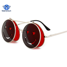 Round flip up sunglasses vintage steampunk metal frame red yellow clip on sun glasses