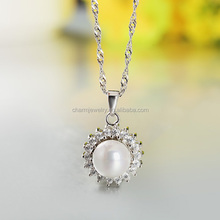 2016 Lastest Fashion Noble Pearl 925 Silver Necklace Design for Western Women SCR017