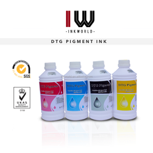 High quality INKWORLD DTG pigment ink for Mimaki/Mutoh/Roland/Novajet wide format printer,CMYK and White pigment ink