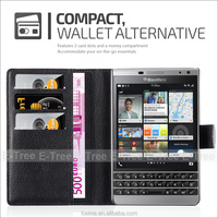 Synthetic Leather Wallet Mobile Phone Case Back Cover For Blackberry Passport Silver Edition