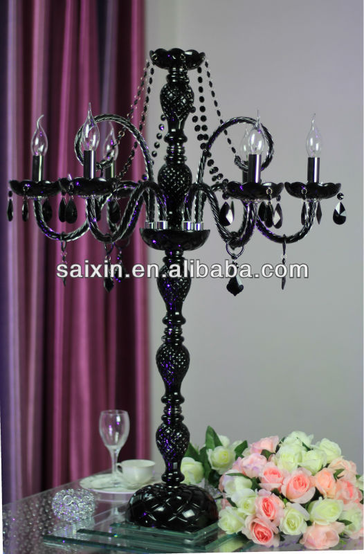 Gorgeous black crystal glass chandelier for wedding table decor