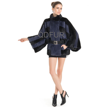 QD70747 Brand Name Winter Jackets for Women Bat Shirt Blue Mink Fur Jacket with Wide Sleeves