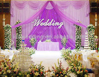 2013 latest New stage elegant curtain pipe purple organza wave decor for sweety romance wedding party birthday chrismas