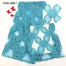 Turquoise color dress making <strong>embroidery</strong> tulle <strong>lace</strong> 2019 clothes material with sequins mesh <strong>lace</strong> fabric