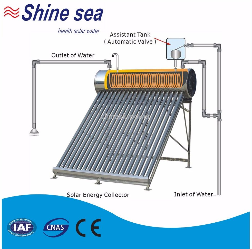 Best selling pressurized copper pre-heated pipe solar water heater