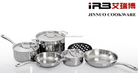 9-PC 3PLY clad 304 Stainless Steel Induction dinnerware sets (20cm Casserole,16cm 18cm Milk Pan, 20cm 24cm Frying Pan)