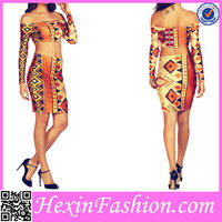 Ladies Geometric patterns Two Piece Bodycon Dress