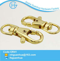 Cheap alloy golden snap lanyard hooks with chain