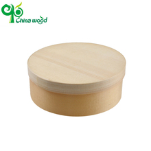 Well-designed disposable round pine box container for cake and bread