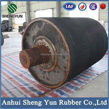 ISO proved heat resistant belt conveyor pulley with rubber lagging