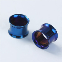 14mm Stainless Steel Ear Stretcher Expander Cylinder Blue Cheap Ear Gauge Plugs