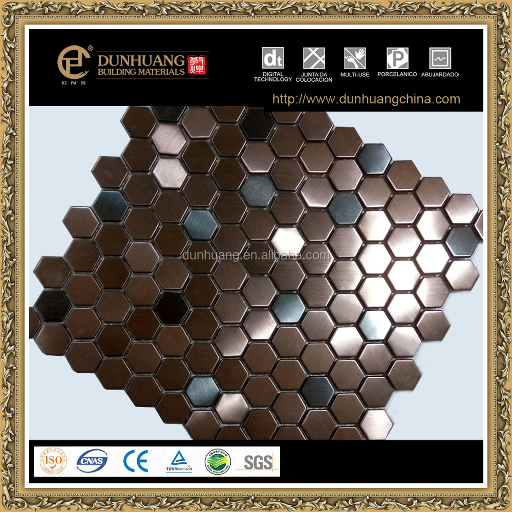 hexagon antique copper brushed stainless steel mosaic tile