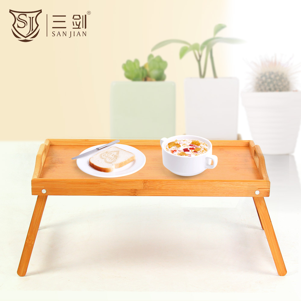 Extra Large Folding Bamboo Wooden Breakfast Serving Lap Tray/Bed Table